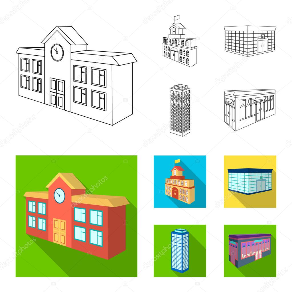 Bank office, skyscraper, city hall building, college building. Architectural and structure set collection icons in outline,flat style vector symbol stock illustration web.