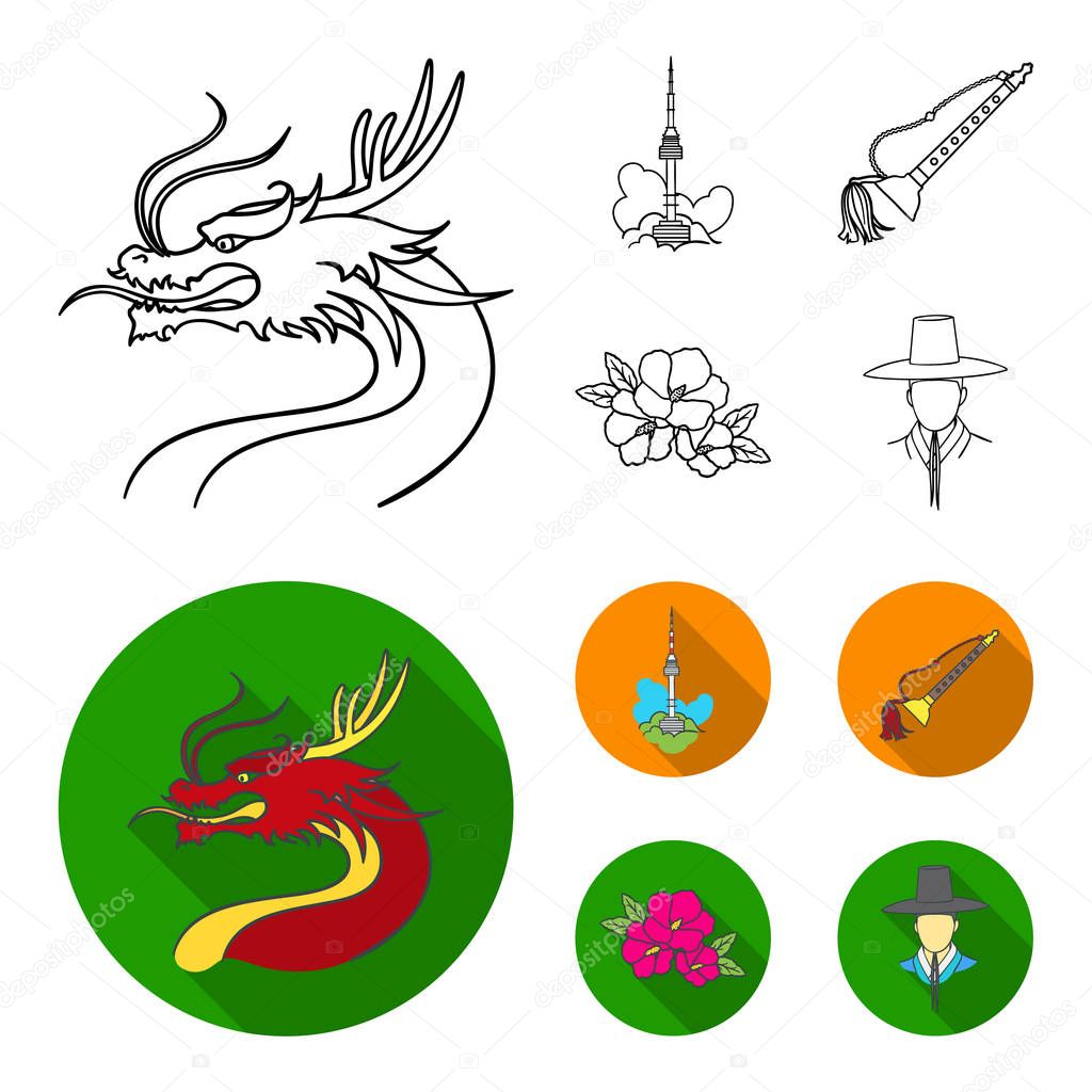 Dragon with mustache, Seoul tower, national musical instrument, hibiscus flower. South Korea set collection icons in outline,flat style vector symbol stock illustration web.