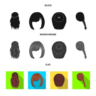 Kara, red braid and other types of hairstyles. Back hairstyle set collection icons in black, flat, monochrome style vector symbol stock illustration web.