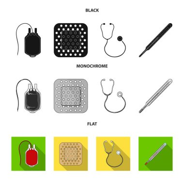 Package with donor blood and other equipment.Medicine set collection icons in black, flat, monochrome style vector symbol stock illustration web.
