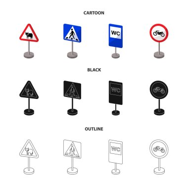 Different types of road signs cartoon,black,outline icons in set collection for design. Warning and prohibition signs vector symbol stock web illustration.