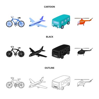 Bicycle, airplane, bus, helicopter types of transport. Transport set collection icons in cartoon,black,outline style vector symbol stock illustration web.