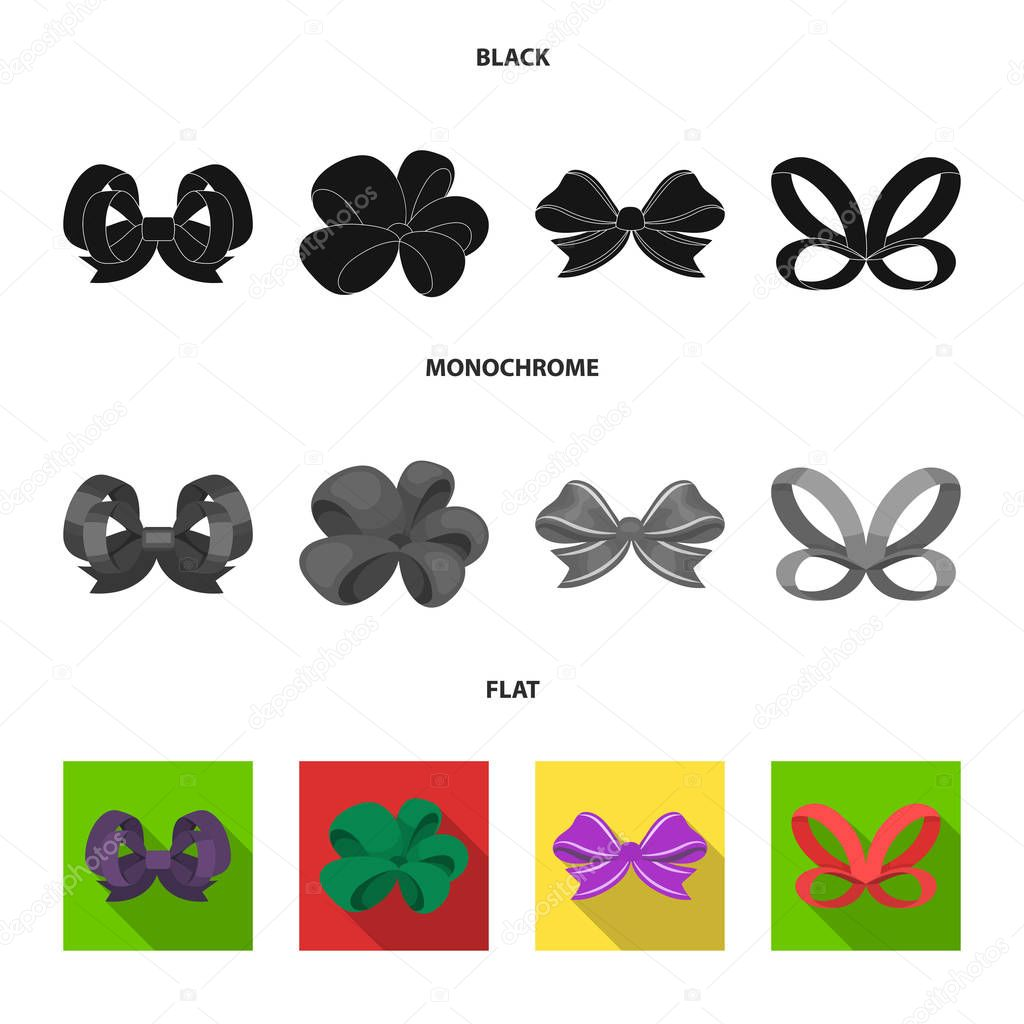 Ornamentals, frippery, finery and other web icon in black, flat, monochrome style.Bow, ribbon, decoration, icons in set collection.