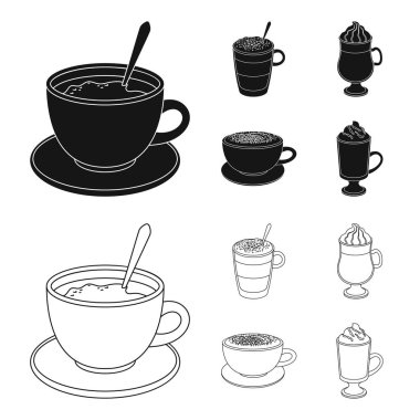 American, late, irish, cappuccino.Different types of coffee set collection icons in black,outline style vector symbol stock illustration web.