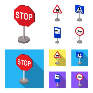 Different types of road signs cartoon,flat icons in set collection for design. Warning and prohibition signs vector symbol stock web illustration.