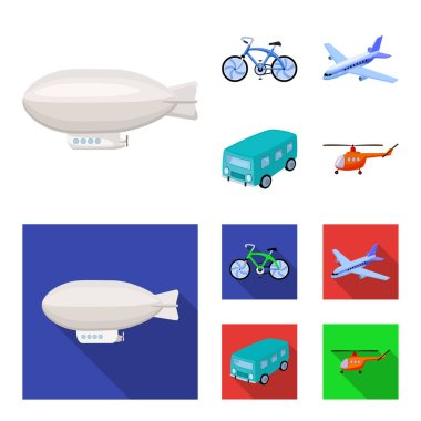 Bicycle, airplane, bus, helicopter types of transport. Transport set collection icons in cartoon,flat style vector symbol stock illustration .