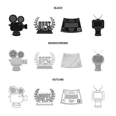 Silver camera. A bronze prize in the form of a TV and other types of prizes.Movie award,sset collection icons in black,monochrome,outline style vector symbol stock illustration web.