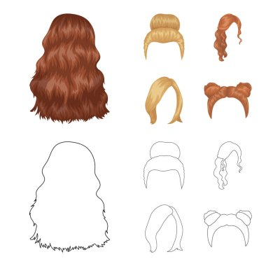 Blond with a bunch, red wavy and other types of hair. Back hair set collection icons in cartoon,outline style vector symbol stock illustration web.