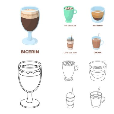 Ristretto, hot chocolate, latte take-away.Different types of coffee set collection icons in cartoon,outline style vector symbol stock illustration web.