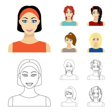 Types of female hairstyles cartoon,outline icons in set collection for design. Appearance of a woman vector symbol stock web illustration.