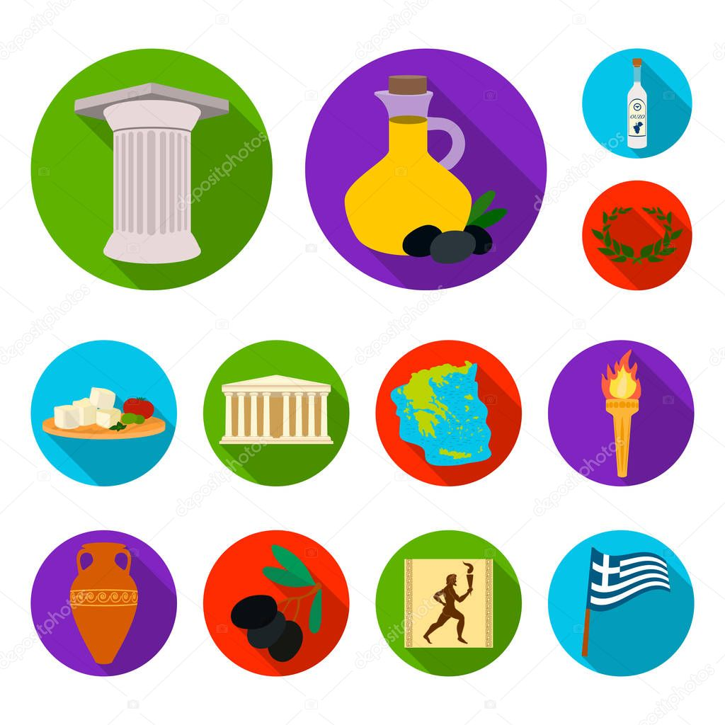 Country Greece flat icons in set collection for design.Greece and landmark vector symbol stock web illustration.