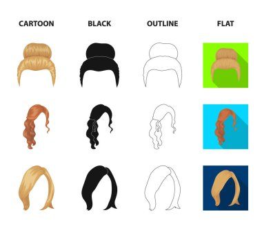 Blond with a bunch, red wavy and other types of hair. Back hair set collection icons in cartoon,black,outline,flat style vector symbol stock illustration web.