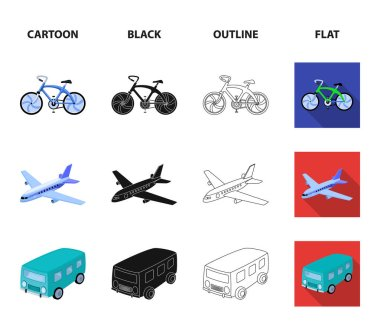 Bicycle, airplane, bus, helicopter types of transport. Transport set collection icons in cartoon,black,outline,flat style vector symbol stock illustration web.