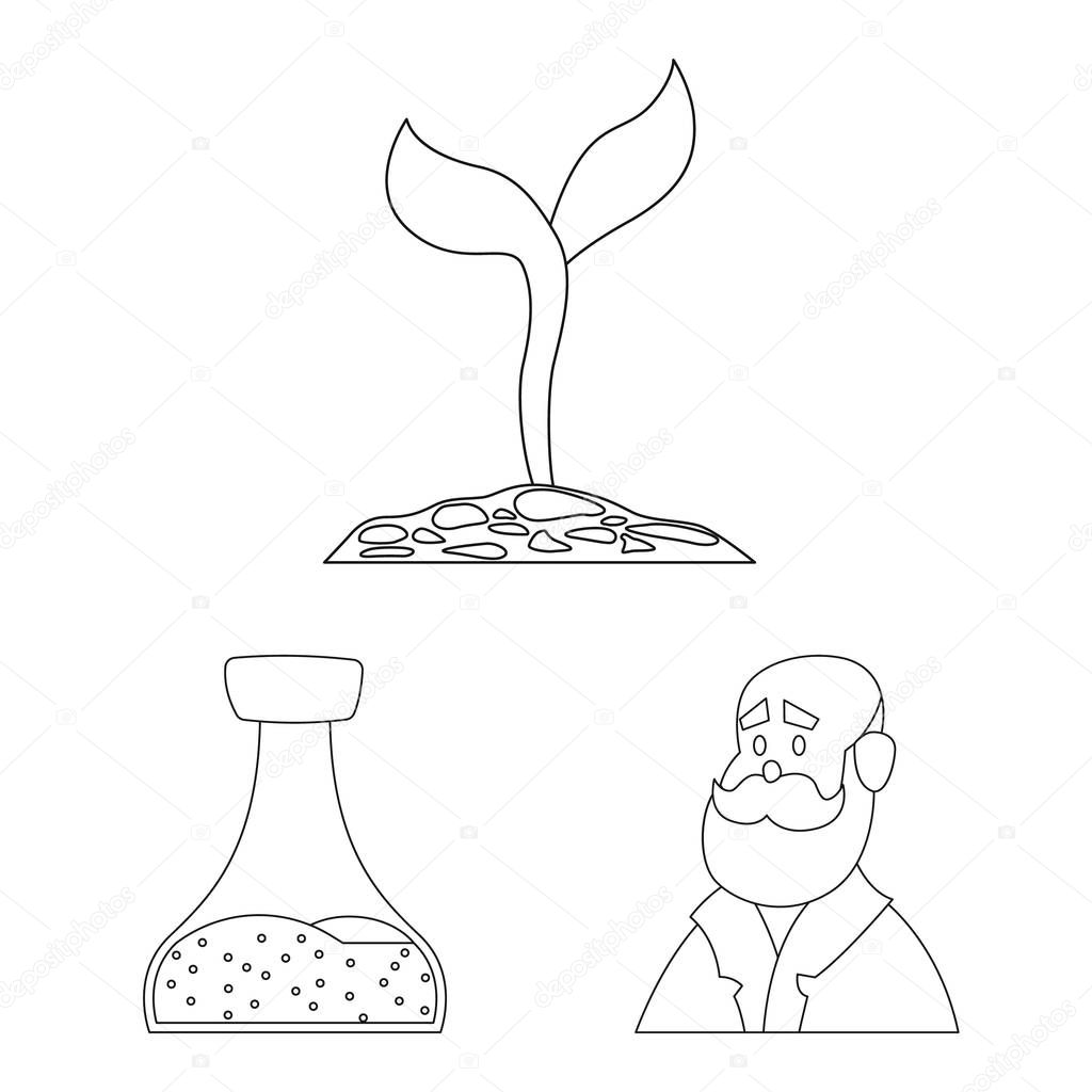 Vector illustration of genetic and plant logo. Collection of genetic and biotechnology stock vector illustration.