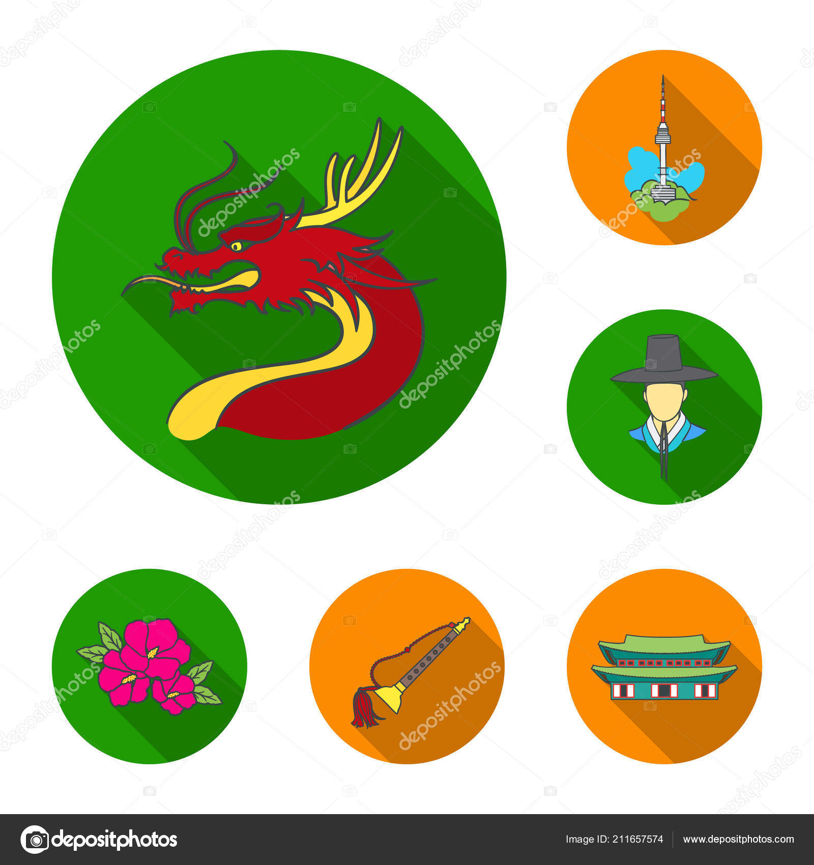 Country South Korea flat icons in set collection for design