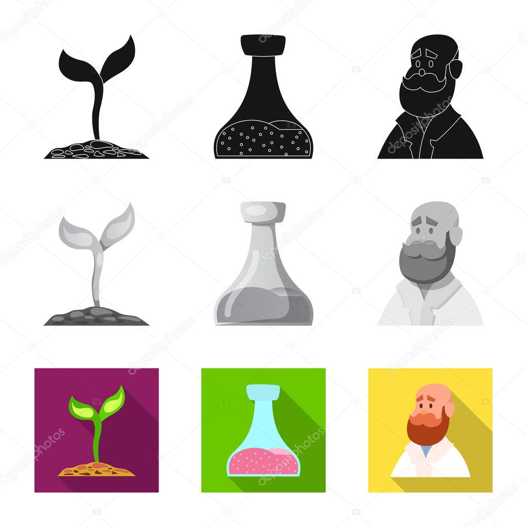 Vector design of genetic and plant sign. Collection of genetic and biotechnology vector icon for stock.