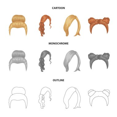 Blond with a bunch, red wavy and other types of hair. Back hair set collection icons in cartoon,outline,monochrome style vector symbol stock illustration web.