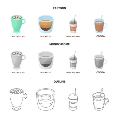 Ristretto, hot chocolate, latte take-away.Different types of coffee set collection icons in cartoon,outline,monochrome style vector symbol stock illustration web.
