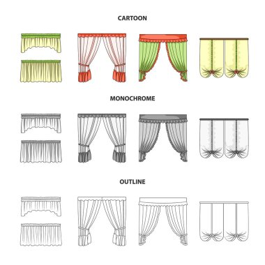 Different types of window curtains.Curtains set collection icons in cartoon,outline,monochrome style vector symbol stock illustration web.