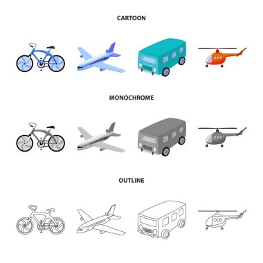 Bicycle, airplane, bus, helicopter types of transport. Transport set collection icons in cartoon,outline,monochrome style vector symbol stock illustration web.