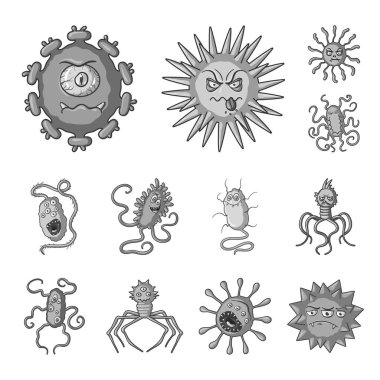 Types of funny microbes monochrome icons in set collection for design. Microbes pathogenic vector symbol stock web illustration.