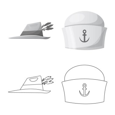 Vector illustration of headwear and cap sign. Collection of headwear and accessory vector icon for stock.