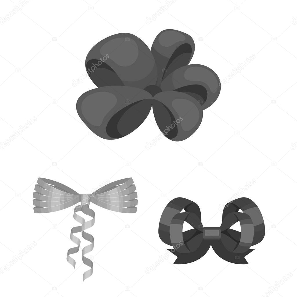 Multicolored bows monochrome icons in set collection for design.Bow for decoration vector symbol stock web illustration.
