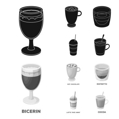Ristretto, hot chocolate, latte take-away.Different types of coffee set collection icons in black,monochrome style vector symbol stock illustration web.