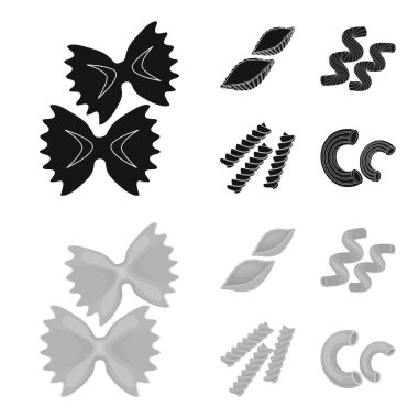 Different types of pasta. Types of pasta set collection icons in black,monochrome style vector symbol stock illustration web.