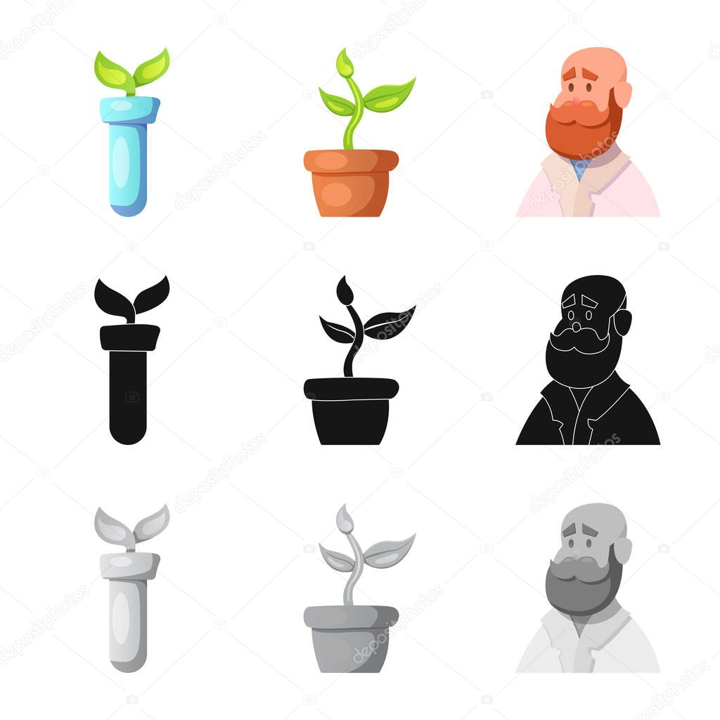 Vector design of genetic and plant symbol. Set of genetic and biotechnology vector icon for stock.