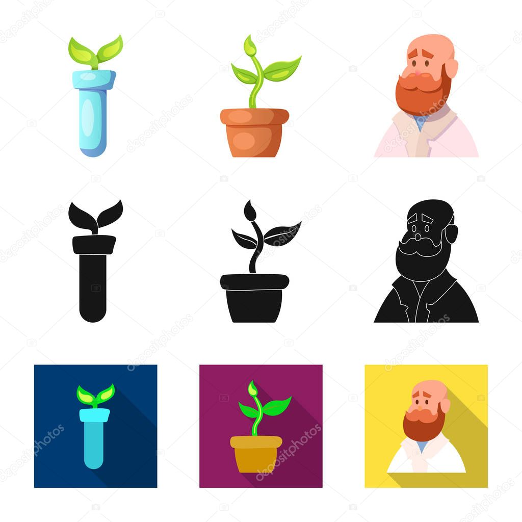 Vector illustration of genetic and plant symbol. Collection of genetic and biotechnology vector icon for stock.