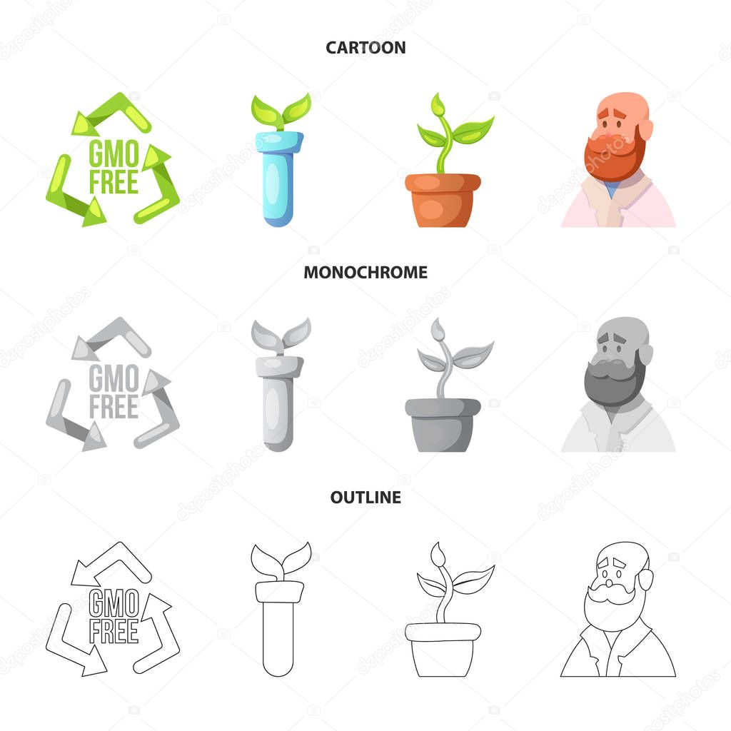 Isolated object of genetic and plant icon. Collection of genetic and biotechnology vector icon for stock.