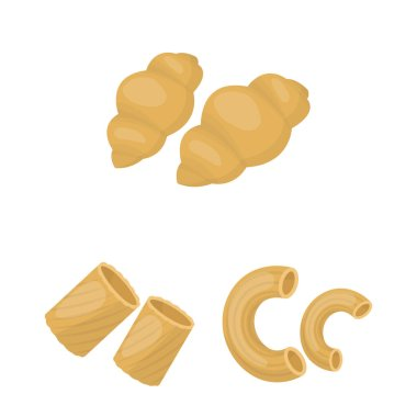 Types of pasta cartoon icons in set collection for design. Figured macaroni for eating vector symbol stock web illustration.