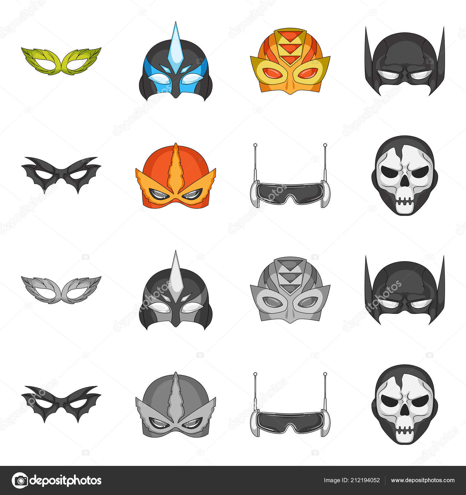Vector Illustration Of Hero And Mask Symbol Set Of Hero And