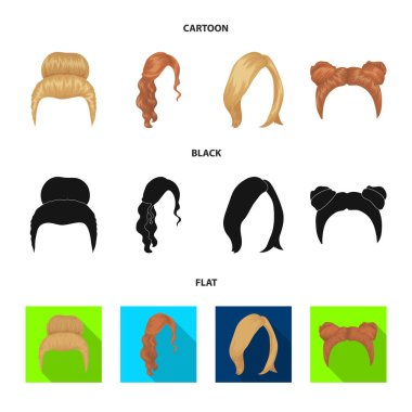Blond with a bunch, red wavy and other types of hair. Back hair set collection icons in cartoon,black,flat style vector symbol stock illustration web.