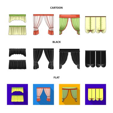 Different types of window curtains.Curtains set collection icons in cartoon,black,flat style vector symbol stock illustration web.