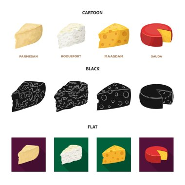 Parmesan, roquefort, maasdam, gauda.Different types of cheese set collection icons in cartoon,black,flat style vector symbol stock illustration web.