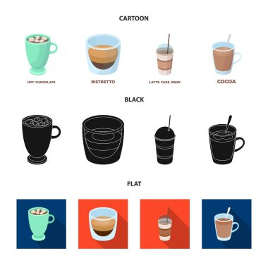 Ristretto, hot chocolate, latte take-away.Different types of coffee set collection icons in cartoon,black,flat style vector symbol stock illustration web.