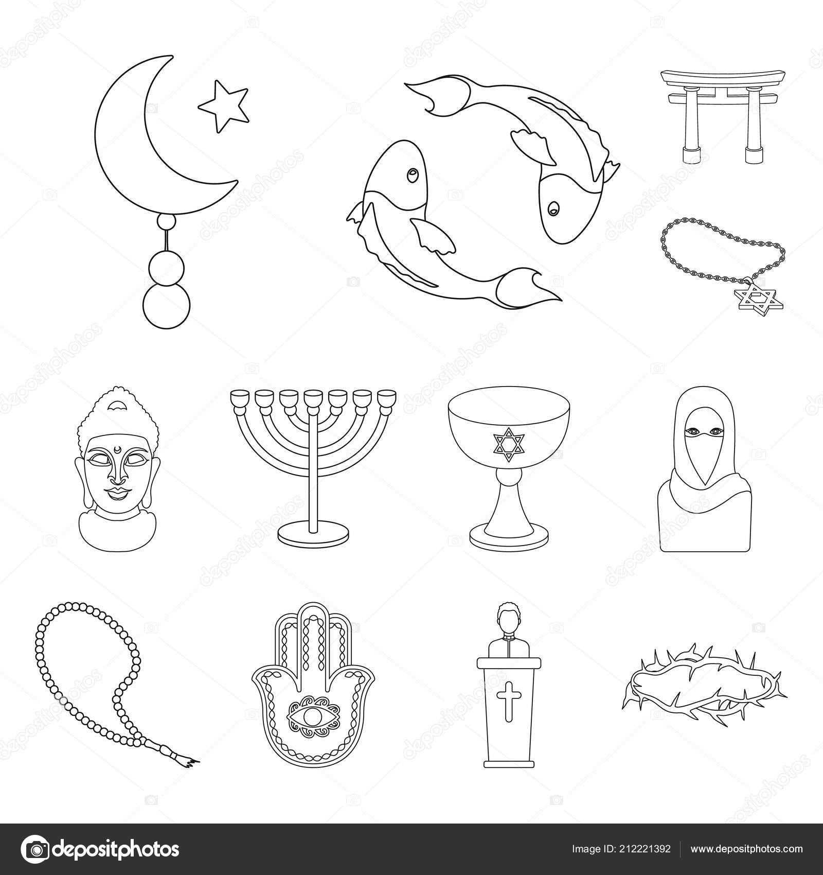Religion and belief outline icons in set collection for design