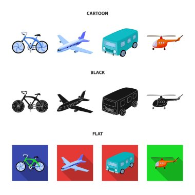 Bicycle, airplane, bus, helicopter types of transport. Transport set collection icons in cartoon,black,flat style vector symbol stock illustration web.