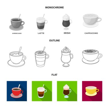 American, late, irish, cappuccino.Different types of coffee set collection icons in flat,outline,monochrome style vector symbol stock illustration web.