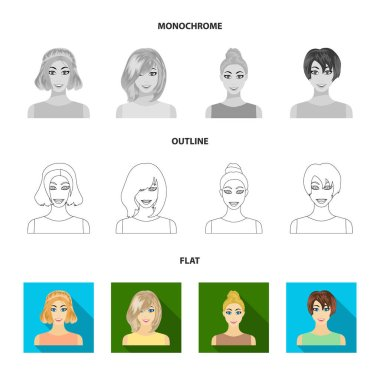 Types of female hairstyles flat,outline,monochrome icons in set collection for design. Appearance of a woman vector symbol stock web illustration.