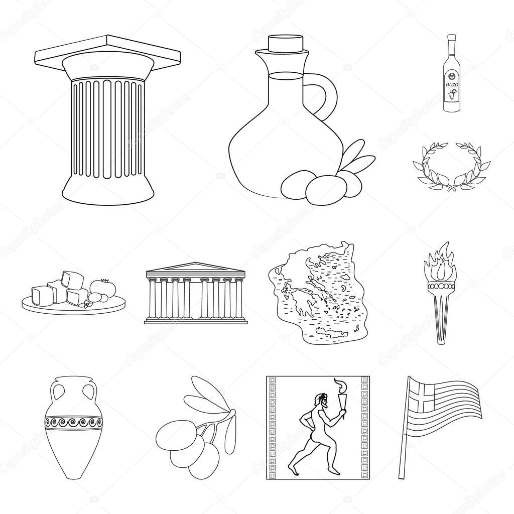Country Greece outline icons in set collection for design.Greece and landmark vector symbol stock web illustration.