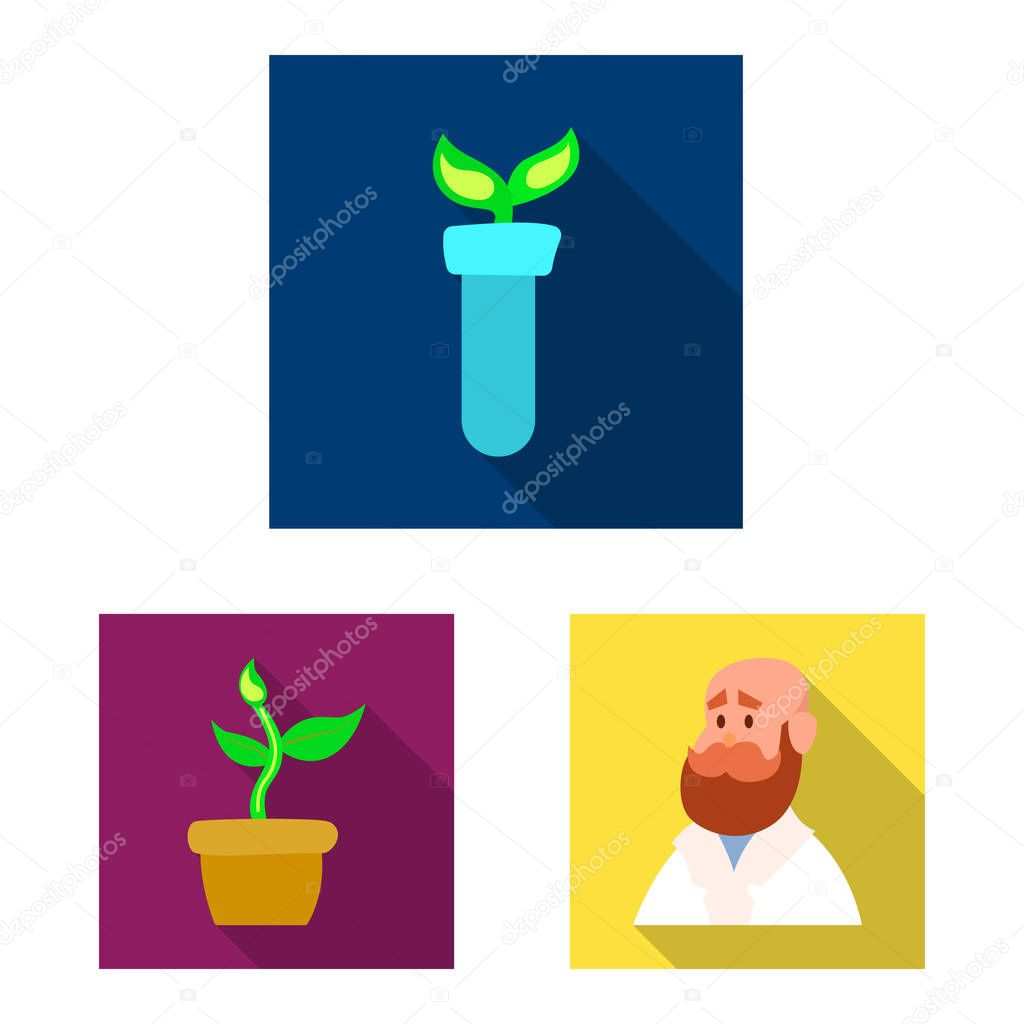 Isolated object of genetic and plant icon. Collection of genetic and biotechnology stock symbol for web.