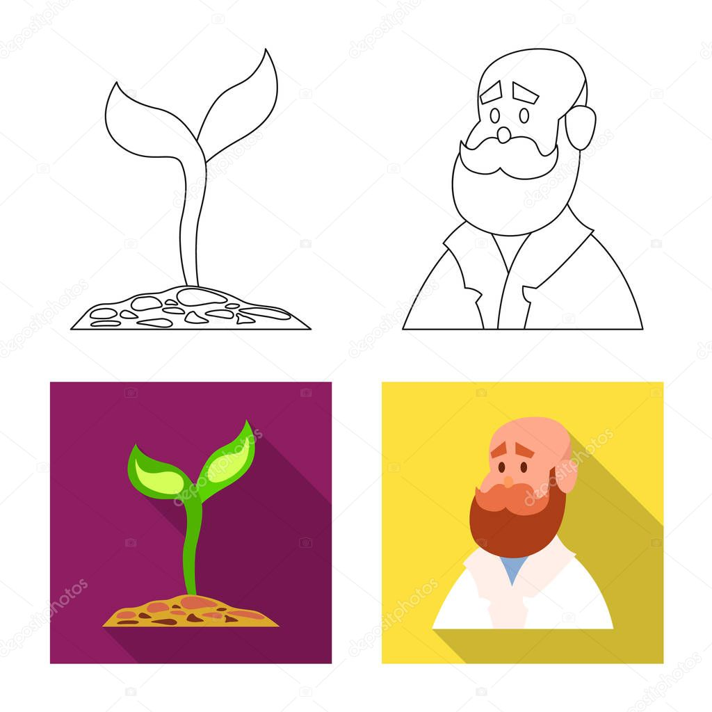 Isolated object of genetic and plant logo. Set of genetic and biotechnology stock symbol for web.