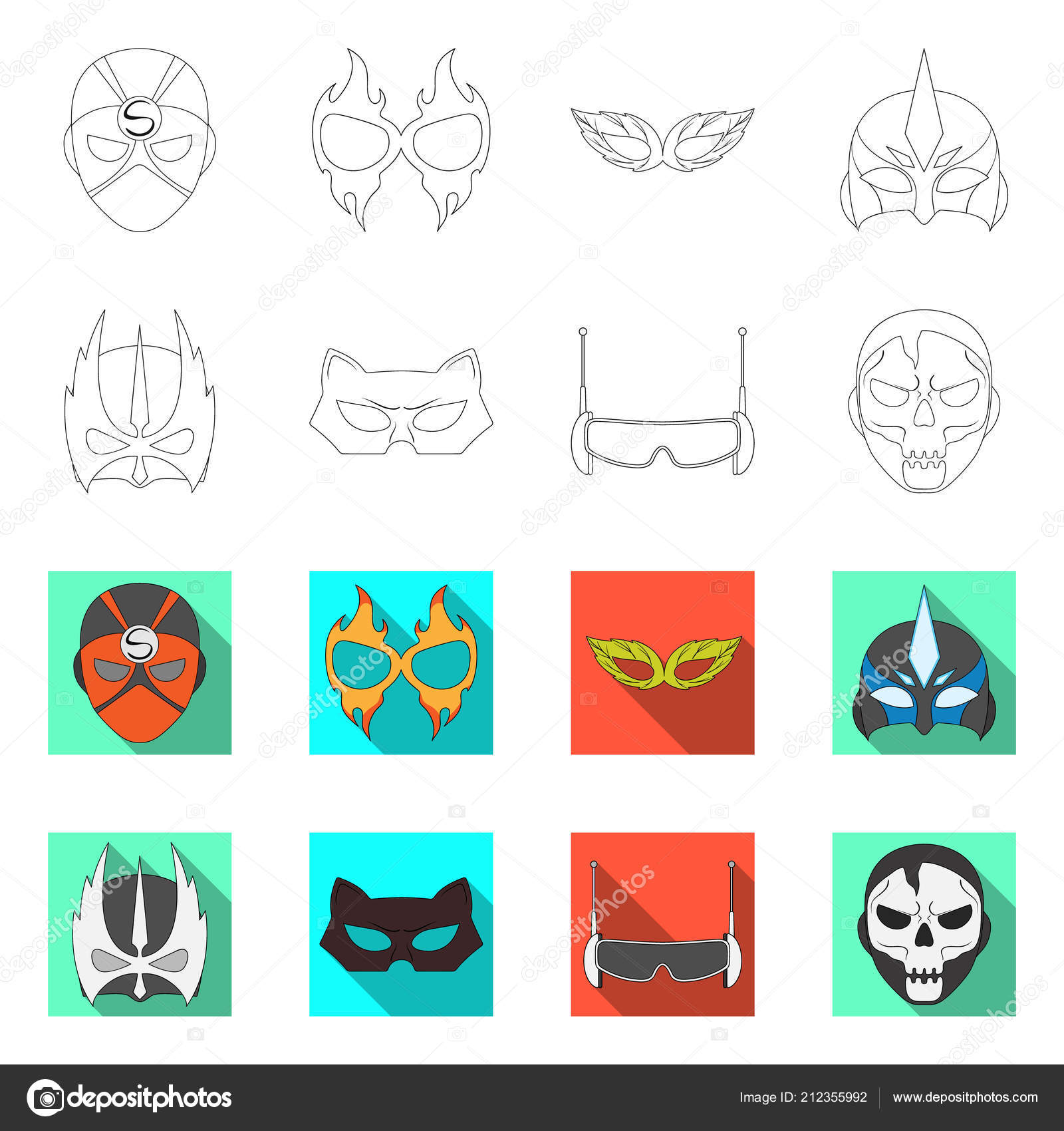Isolated Object Of Hero And Mask Logo Set Of Hero And Superhero