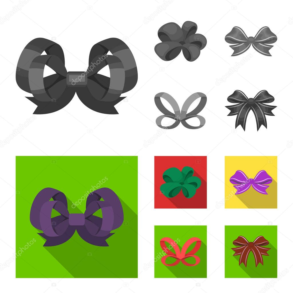 Ornamentals, frippery, finery and other web icon in monochrome,flat style.Bow, ribbon, decoration, icons in set collection.