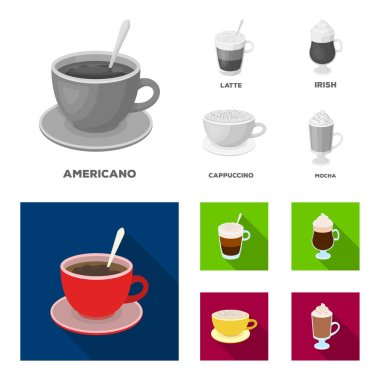 American, late, irish, cappuccino.Different types of coffee set collection icons in monochrome,flat style vector symbol stock illustration web.