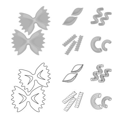 Different types of pasta. Types of pasta set collection icons in outline,monochrome style vector symbol stock illustration web.