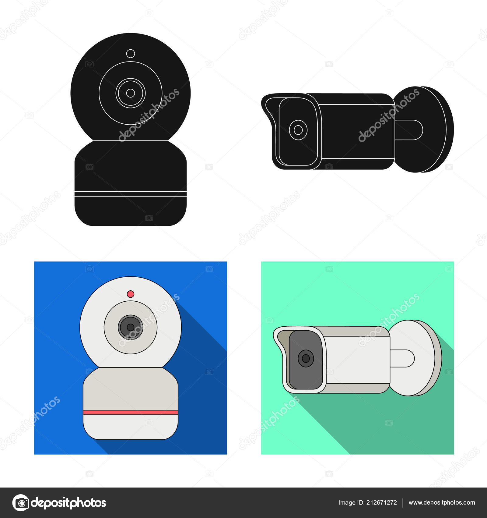 Vector Design Of Cctv And Camera Symbol Set Of Cctv And System
